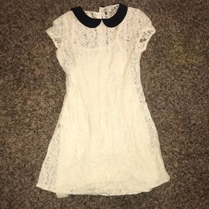 White lace dress with black collar